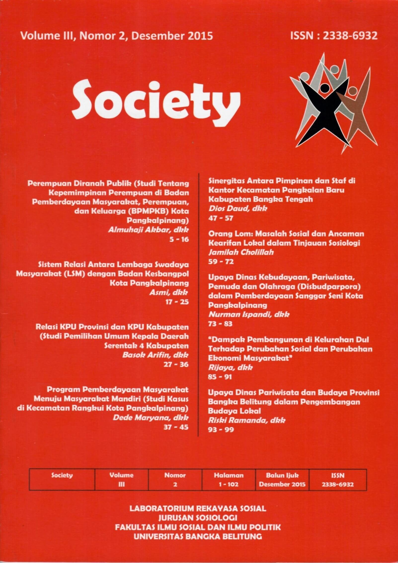 Jurnal Society Volume 3 Nomor 2#Desember 2015