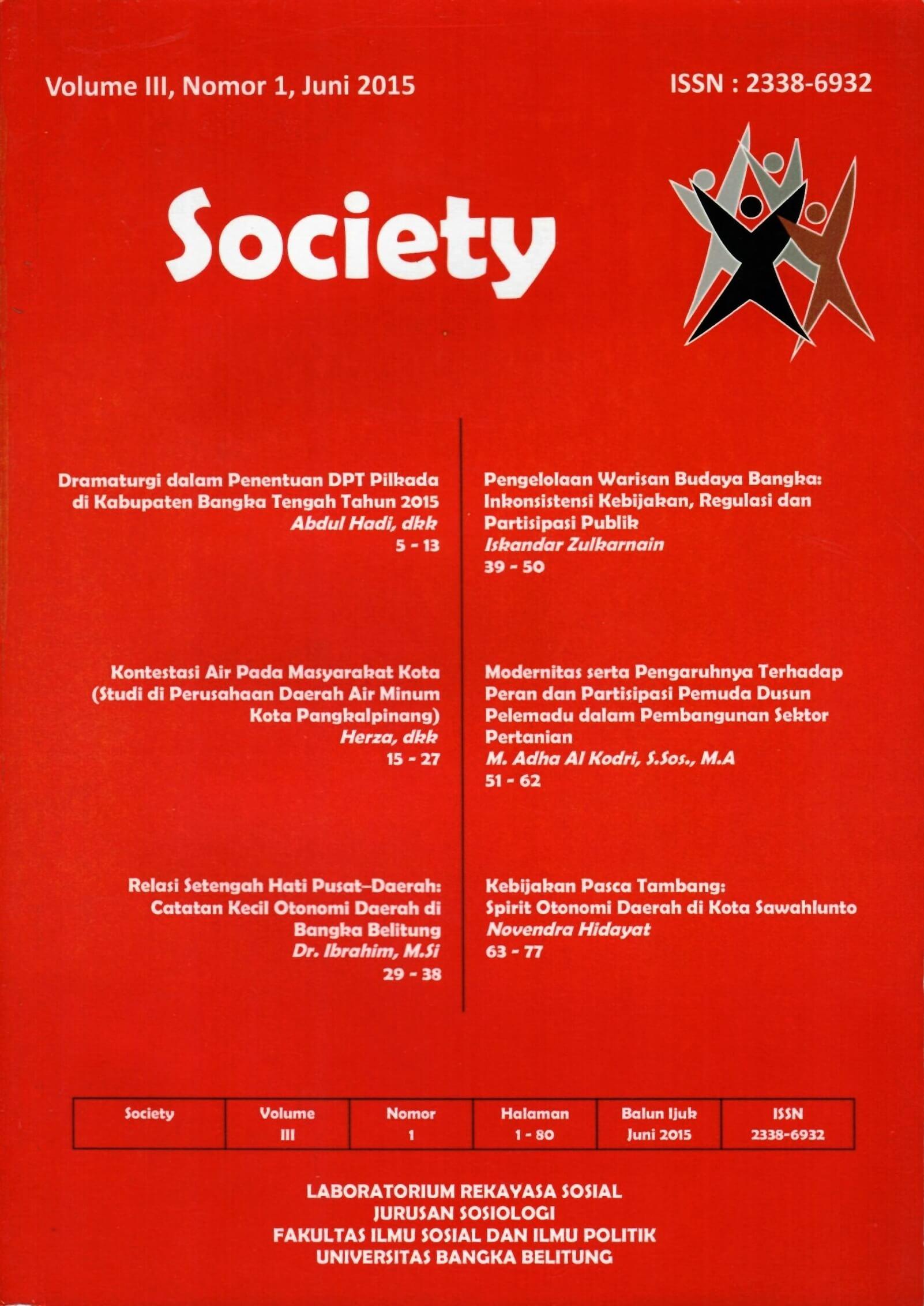 Jurnal Society Volume 3 Nomor 1#Juni 2015