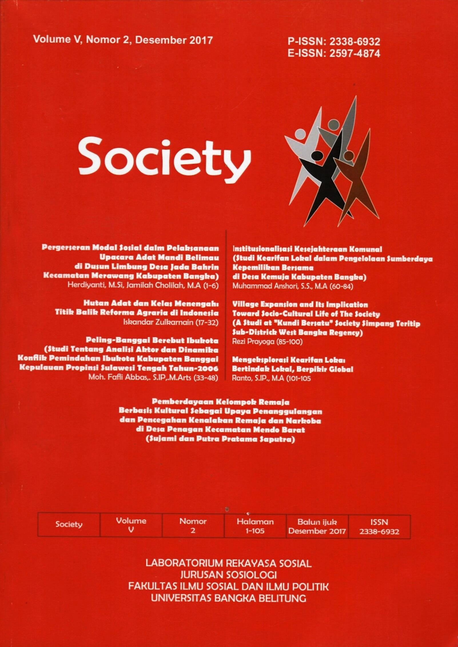Jurnal Society Volume 5 Nomor 2#Desember 2017