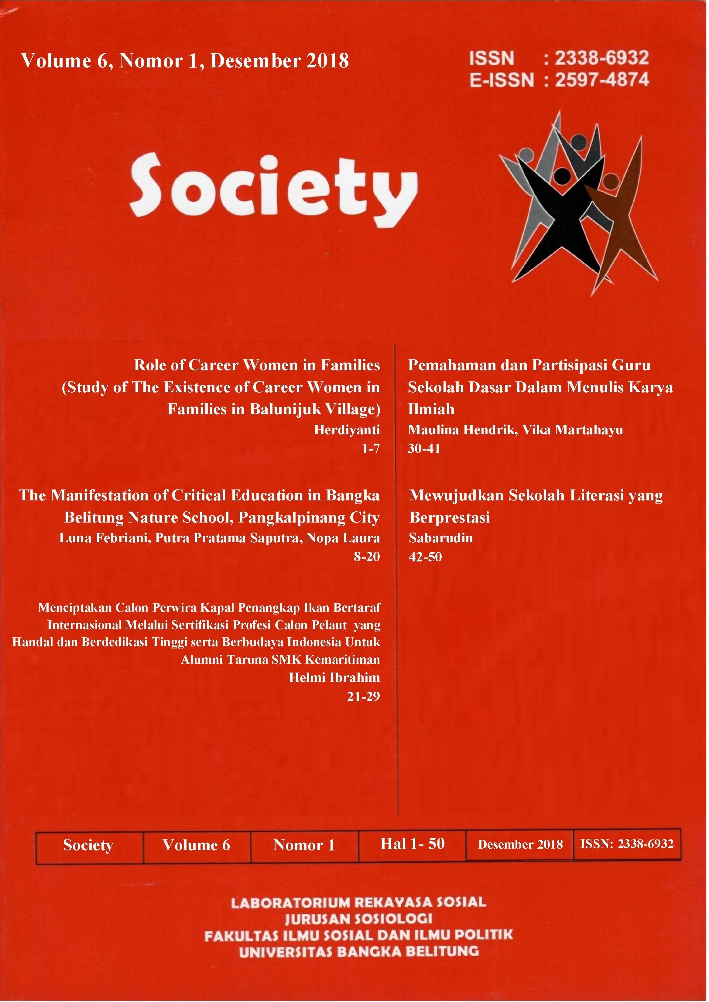 Jurnal Society Volume 6 Nomor 1#Desember 2018