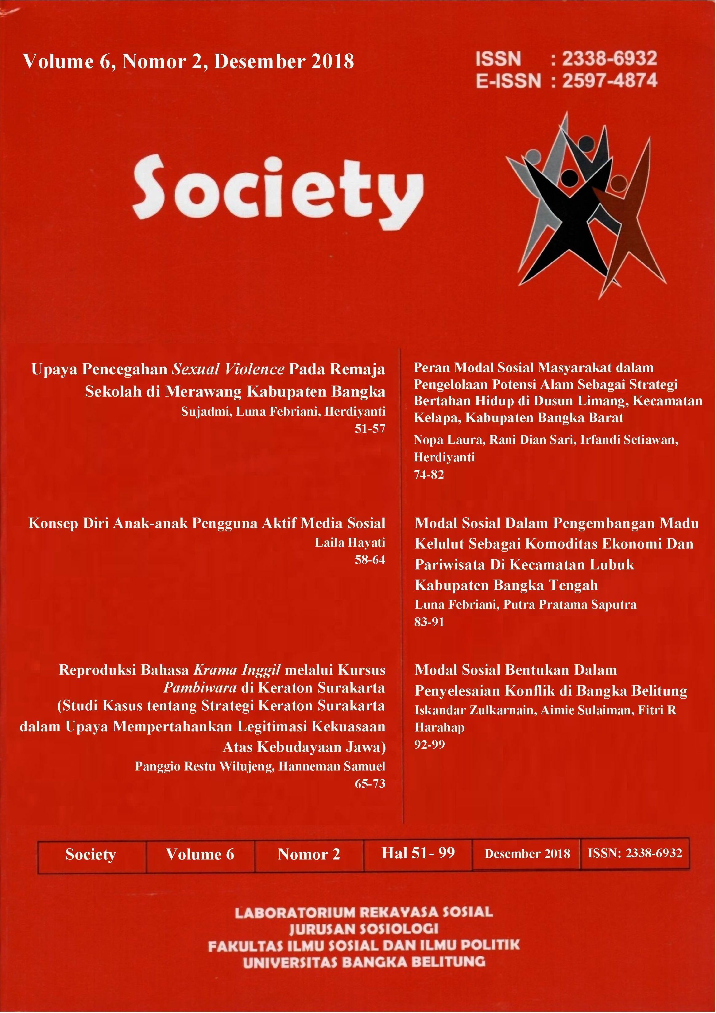 Jurnal Society Volume 6 Nomor 2#Desember 2018