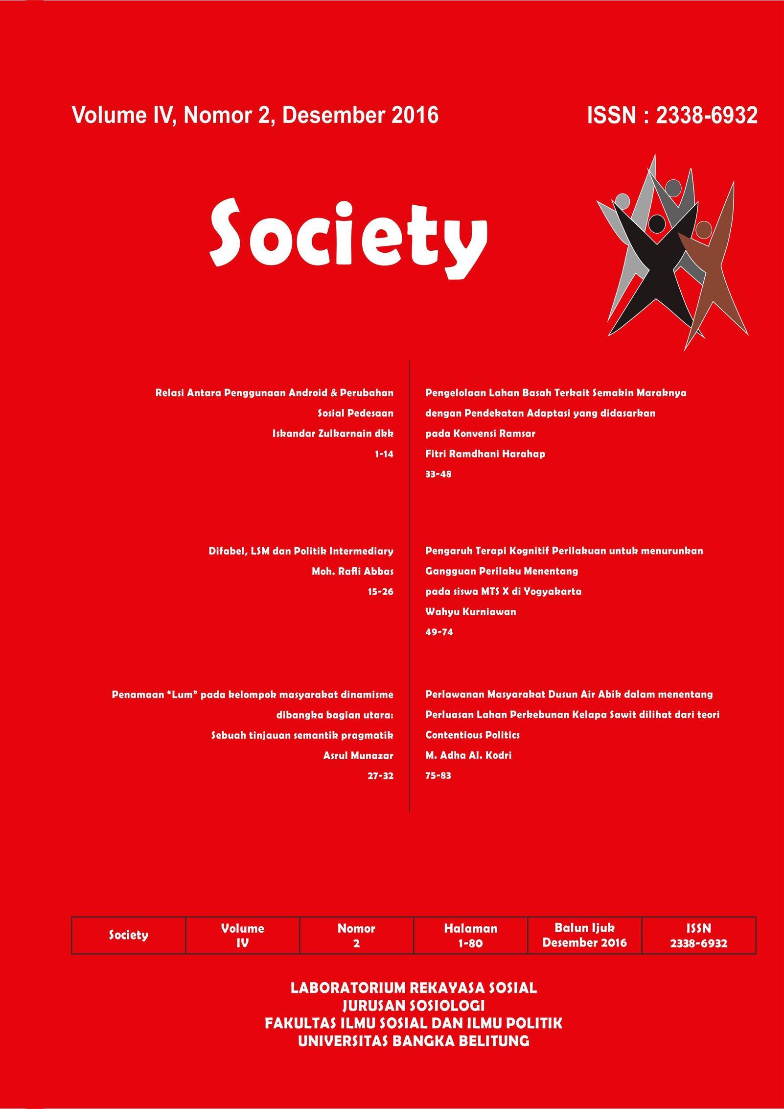 Jurnal Society Volume 4 Nomor 2#Desember 2016
