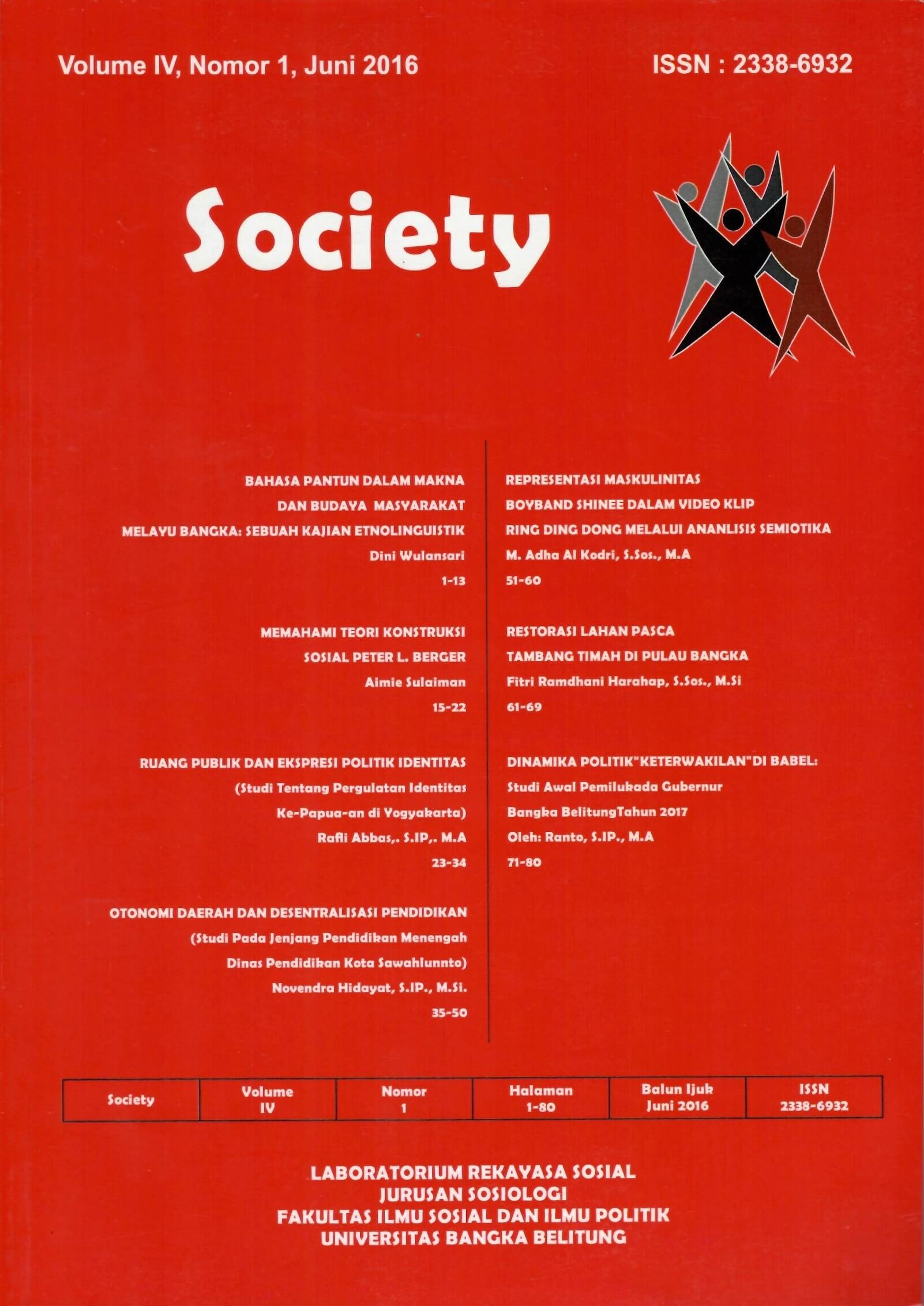 Jurnal Society Volume 4 Nomor 1#Juni 2016