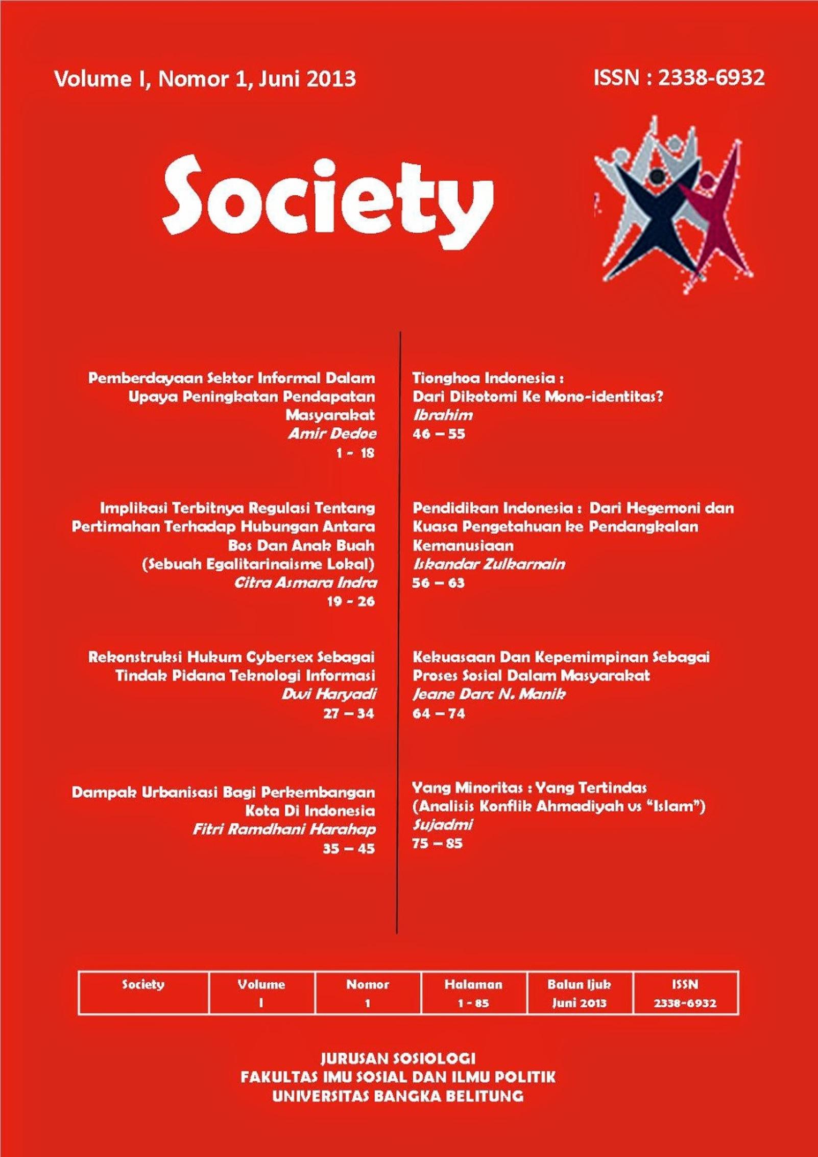 Jurnal Society Volume 1 Nomor 1#Juni 2013