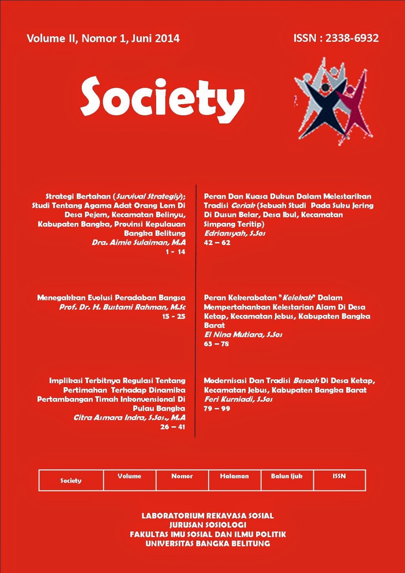 Jurnal Society Volume 2 Nomor 1#Juni 2014